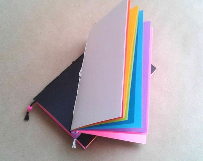 RAINBOW Traveler's Notebook Insert - White Cover - Choice of 8 Sizes and 6 Patterns - Midori Insert - N024B