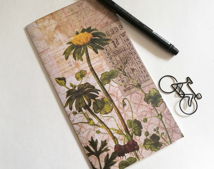 Travelers Notebook Insert YELLOW FLOWER Travelers Notebook Insert Regular Standard A5 Wide B6 Personal A6 Field Notes Passport Micro - N552