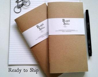 READY to Ship - KRAFT Travelers Notebook Insert - Regular Standard B6 Personal A6 Pocket Field Notes Passport Nano - RTS390