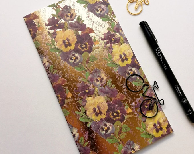 Travelers Notebook Insert GOLD PANSIES - Insert Regular Standard A5 Wide B6 Slim Personal A6 Field Notes Pocket Passport Micro Purple - N532
