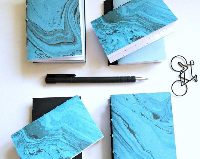 3 x NANO Traveler's Notebook Inserts - TURQUOISE BLUE Black Cover - Nano 3.75 x 2.5 - Fauxdori - RM201