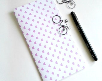 PURPLE HEARTS Travelers Notebook Insert - Fauxdori Midori Insert - TN Refill - Traveler's Notebook Accessories - 9 Sizes - N513
