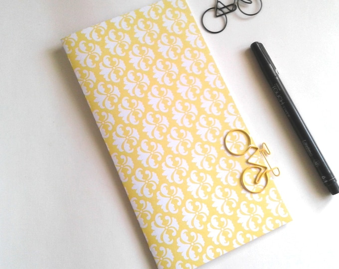 YELLOW DAMASK Travelers Notebook Insert - Pocket Field Notes Personal Standard B6 A6 - Fauxdori Midori TN Insert - N502