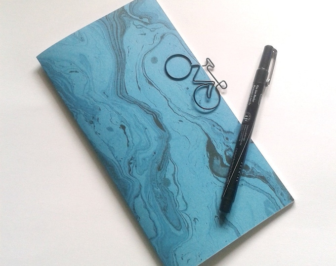 TURQUOISE MARBLE Travelers Notebook Insert - 10 Size Choices - Lined Grid Blank Dot Grid - Blue Marble - N102