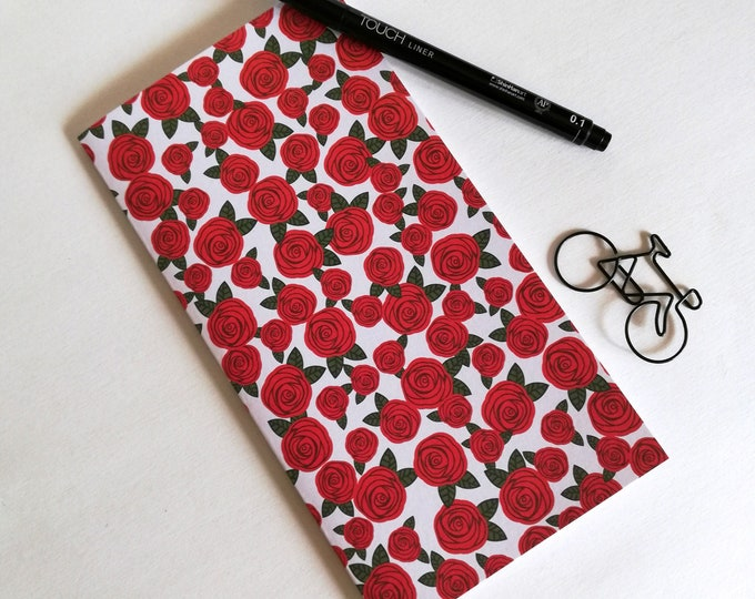 Travelers Notebook Insert RED ROSE Travelers Notebook Refill Regular Standard A5 Wide B6 Personal A6 Field Notes Passport Floral - N544