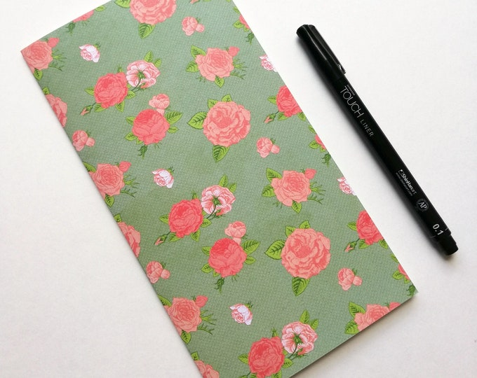 ROSES Travelers Notebook Insert - Midori Insert - Regular Standard Wide B6 Personal A6 Pocket Field Notes Passport Green - N529