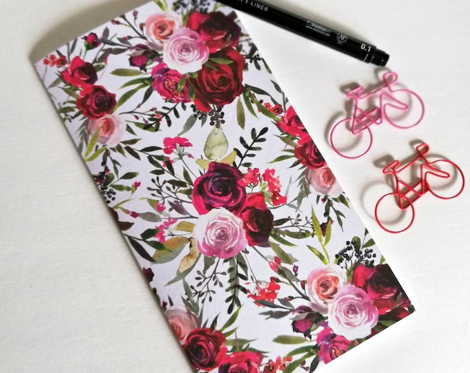 ROSES Travelers Notebook Insert - Fauxdori Midori Insert - TN Refill Accessory - Pink and Red Flowers - 9 Sizes - N548