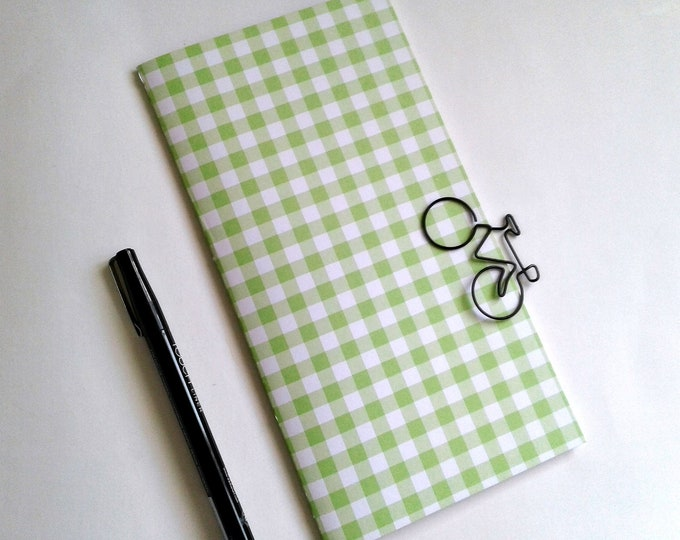 GREEN GINGHAM Travelers Notebook Insert - Pocket Field Notes Personal Standard B6 A6 - Fauxdori Midori TN Insert - N498