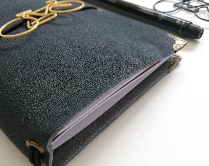 FN - Leather Travelers Notebook cover, Fauxdori cover, Pocket / Field Notes size - Leather Journal with Refill Notebooks - T101