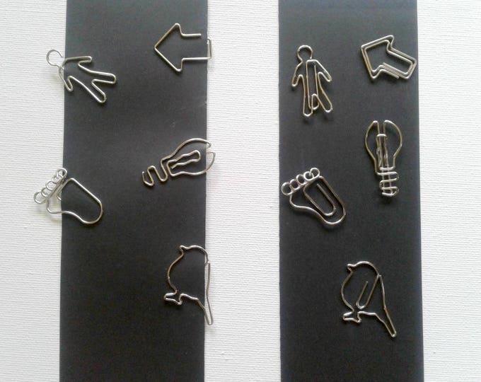3 x Paper Clips - Fun Shapes - Bird, Bulb, Arrow, Foot, Man - Midori Insert -Travelers Notebook - Planner - Book Mark - Page Marker - DS008