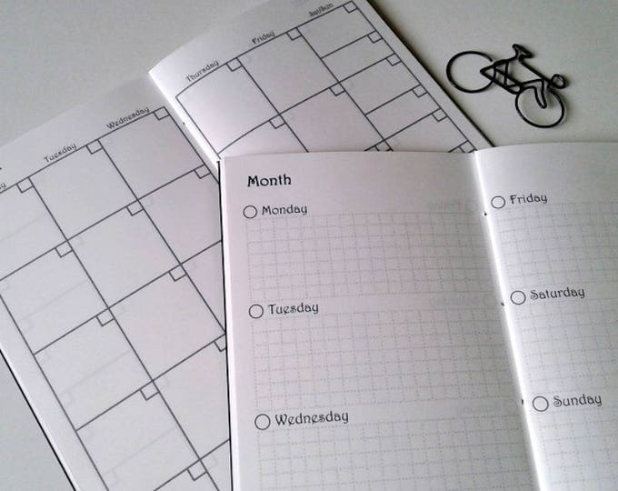 ALL IN ONE- Monthly / Weekly / Habit Tracker - on 2 Pages - Half Year - Traveler's Notebook Calendar Insert - Midori Insert - C011