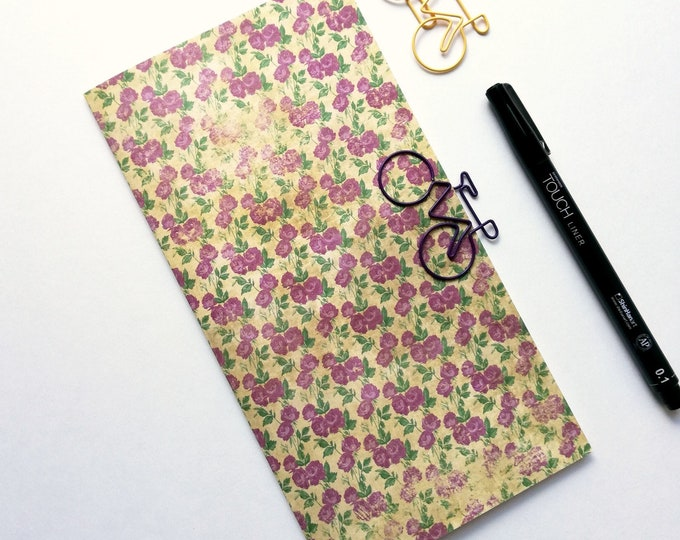 Travelers Notebook Insert PURPLE ROSES - Insert Regular Standard A5 Wide B6 Slim Personal A6 Field Notes Pocket Passport Micro Purple - N531