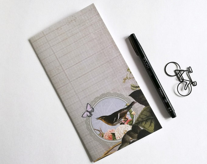 Travelers Notebook Insert - Fauxdori Midori Insert - TN Refill Accessory - Bird and Butterfly - 10 Sizes - N563