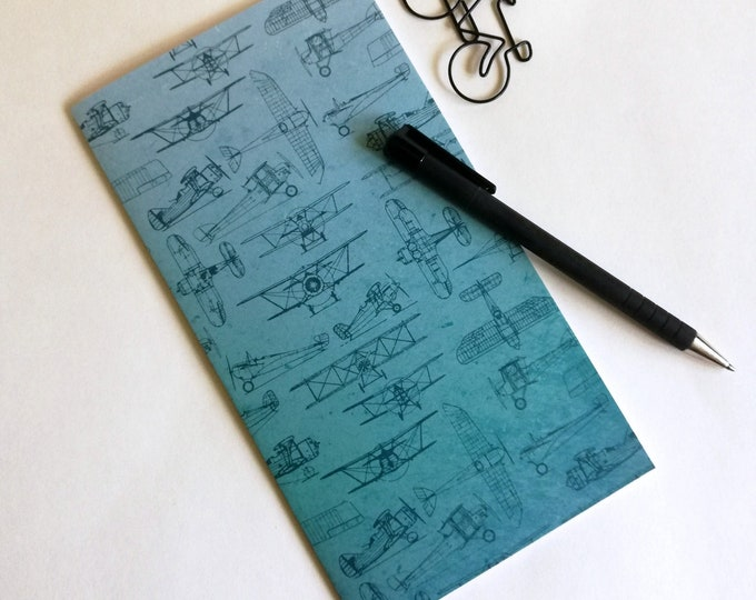 Travelers Notebook Insert BLUE AIRPLANES Travelers Notebook Refill Regular Standard A5 Wide B6 Personal A6 Field Notes Passport Micro - N578