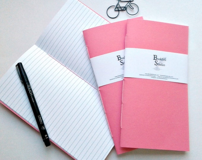 Travelers Notebook Insert - PINK - Midori Style Insert / Refill - TN Accessory - Choose from Dots, Grid, Lined, Blank or Heart Grid - N407