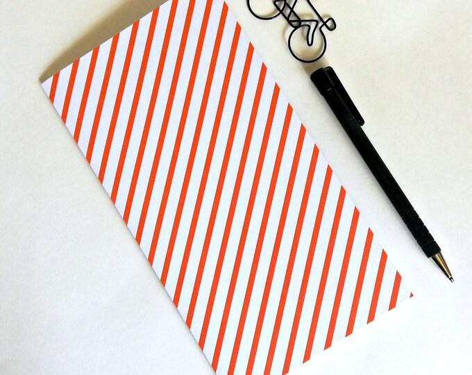 ORANGE STRIPES Traveler's Notebook Insert, Bullet Journal, Dream Personal Log - Regular Standard - B6 Slim - A6 - Pocket - Wide - N576