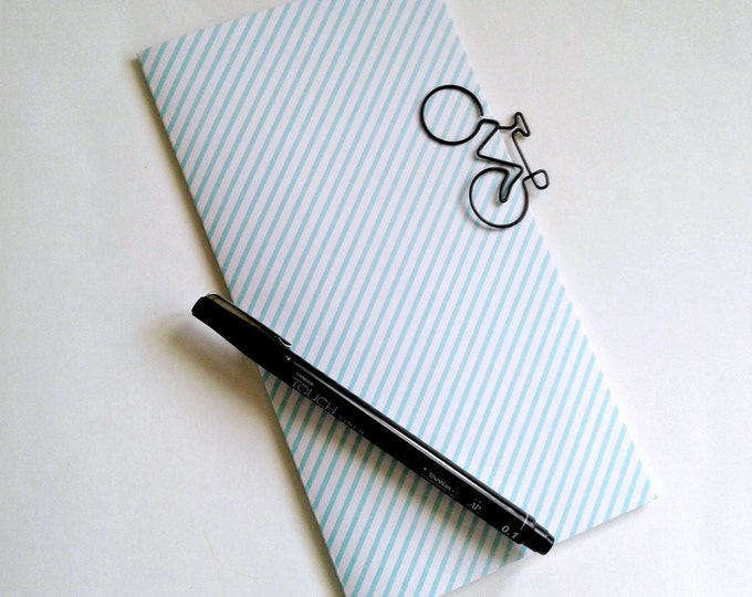 TURQUOISE STRIPES Travelers Notebook Insert - Fauxdori Midori Insert - TN Refill - Traveler's Notebook Accessories - 9 Sizes - N512