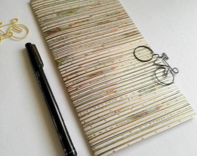 GOLD FOIL Traveler's Notebook Insert - Midori Insert - Fauxdori - Gold Foil Map - Traveler's Journal - Personal Diary Journal - N509