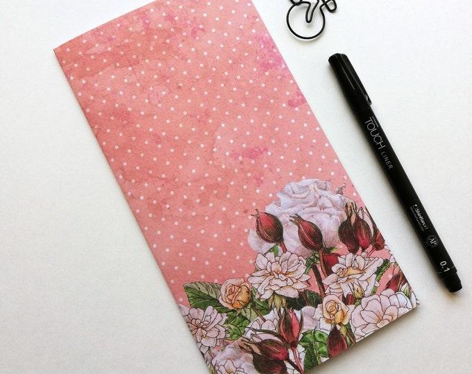 Travelers Notebook Insert FLOWERS Travelers Notebook Insert Regular Standard A5 Wide B6 Personal A6 Field Notes Passport Micro Pink - N519