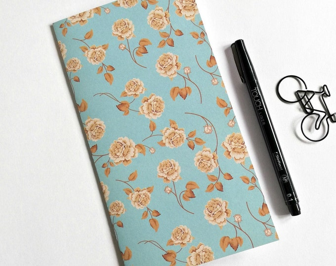 FLOWERS Travelers Notebook Insert - Fauxdori Midori Insert - TN Refill Accessory - Floral Blue Green Kraft - 10 Sizes - N566