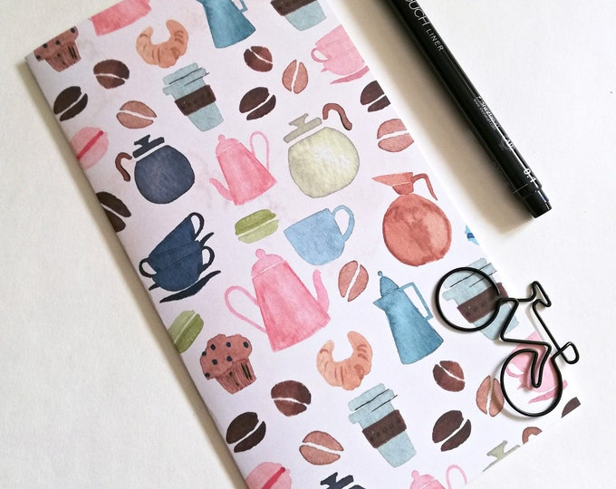 Travelers Notebook Insert COFFEE BREAK Travelers Notebook Refill avail in 10 sizes including Standard A5 Wide B6 Field Notes Passport - N562