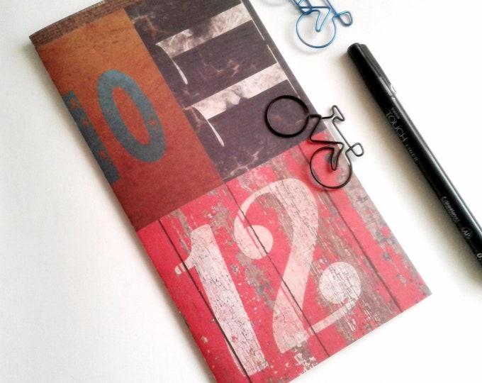 NUMBERS Travelers Notebook Insert - Midori Insert - Fauxdori - Red Notebook Insert - Traveler's Journal - Personal Diary Journal - N511