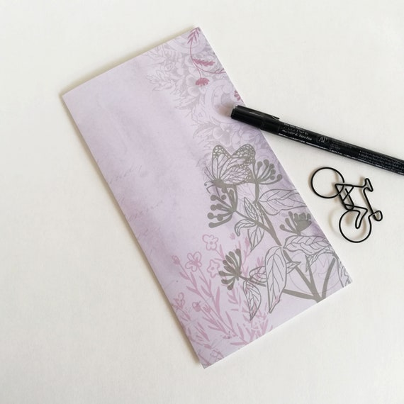 BUTTERFLY Travelers Notebook Insert - Fauxdori Midori Insert - TN Refill Accessory - Floral Muted Pink Grey Spring - 10 Sizes - N619