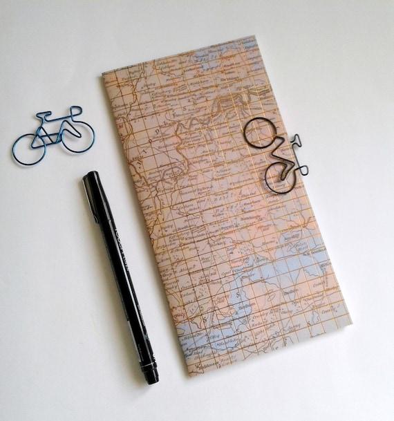 MAP GRID Traveler's Notebook Insert - Midori Insert - Fauxdori - Gold Foil Insert - Traveler's Journal - Personal Diary Journal - N500