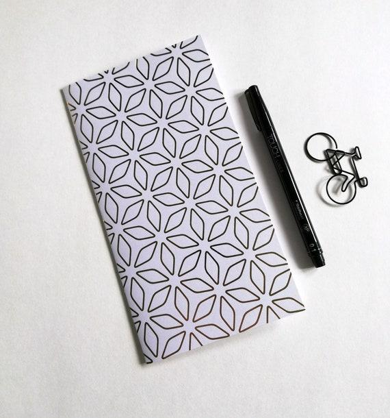 GOLD FOIL Traveler's Notebook Insert - Midori Insert - Fauxdori Insert - Diary - Planner Refill - Personal Log - Gold Mod Flowers - N569