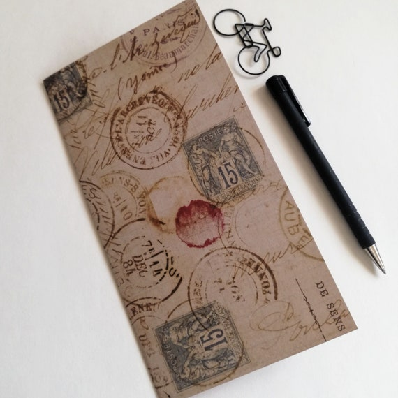 Travelers Notebook Insert VINTAGE STAMPS Travelers Notebook Insert Regular Standard A5 Wide B6 Personal A6 Field Notes Passport Micro - N625