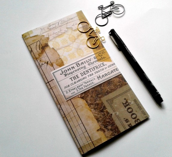 Midori Insert VINTAGE DISTRESSED Travelers Notebook Insert Regular Standard A5 Wide B6 Personal A6 Pocket Field Notes Passport Micro - N396