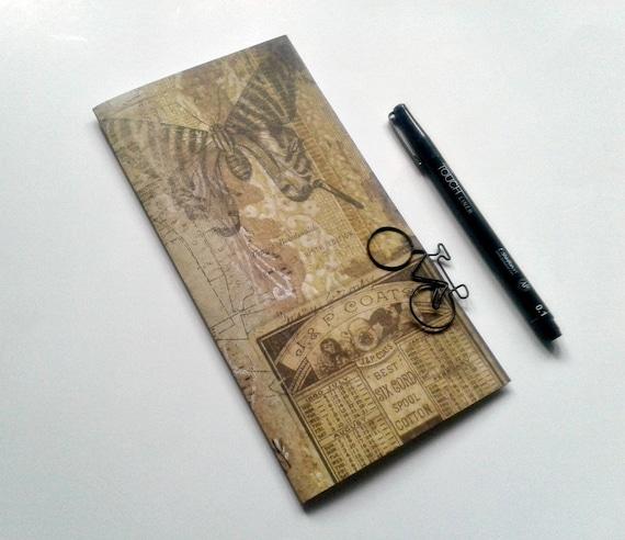 BUTTERFLY - Travelers Notebook Insert - Midori Refill - TN Accessory - Regular Standard A5 B6 Personal A6 Field Notes Passport Nano - N434
