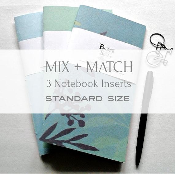 Mix and Match - 3 Travelers Notebook Inserts from Bookfell Studio - Pick Three Standard Size - Set of 3 Midori Refills - TN Accessory - S333