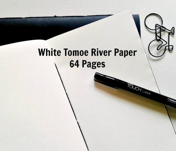 WHITE TOMOE RIVER Paper 68gsm - Traveler's Notebook Insert, Fountain Pen Friendly, Fauxdori Insert, Midori Insert, Refill Notebook - N272