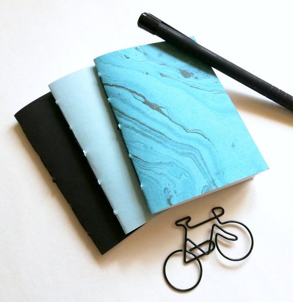 3 x MICRO / A7 Traveler's Notebook Inserts - TURQUOISE BLUE Black Cover - Micro 4.1 x 2.9 - Fauxdori - RM201