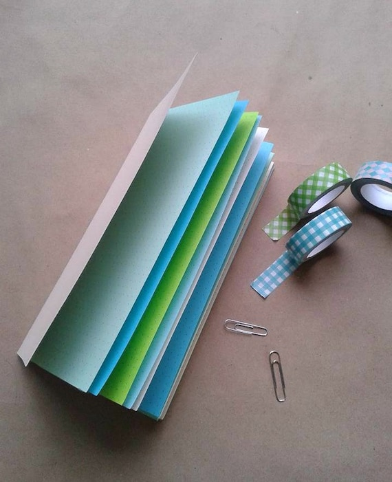 Traveler's Notebook Insert - Choice of 8 Sizes and 6 Patterns - Parchment Cover - Midori Insert - SAND and SEA GLASS - Blue Green - N042