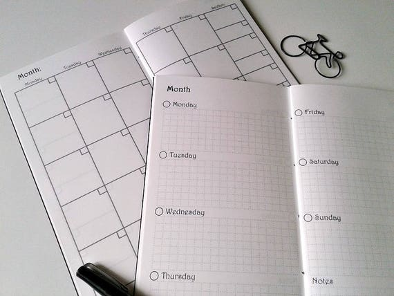 Interleaved MONTHLY / WEEKLY on 2 Pages - Half Year or 3 Month Versions - Travelers Notebook Weekly Monthly Calendar Insert - Midori - C010B