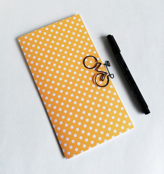 YELLOW DOT Travelers Notebook Insert - Fauxdori Midori Insert - TN Refill Accessory - Yellow Sunny Spring - 10 Sizes including B6 - N584