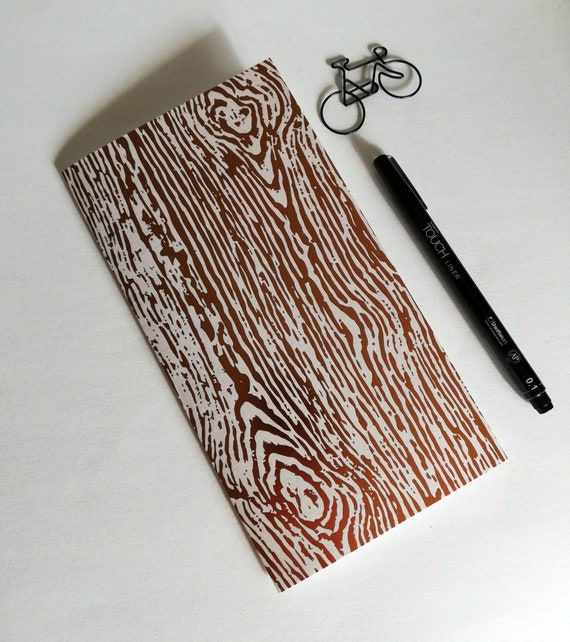 Travelers Notebook Insert - FOIL WOOD GRAIN Copper Notebook - Regular Standard A5 Wide B6 Personal A6 Field Notes Passport Micro - N556