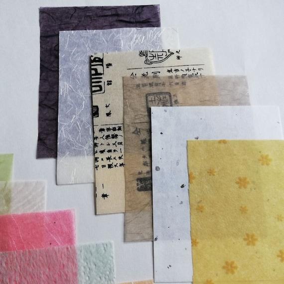 Paper Pack - Japanese Washi - Junk Journal Scrapbook Supply - Travelers Notebook Ephemera Collage Mixed Media Handmade Paper - E004