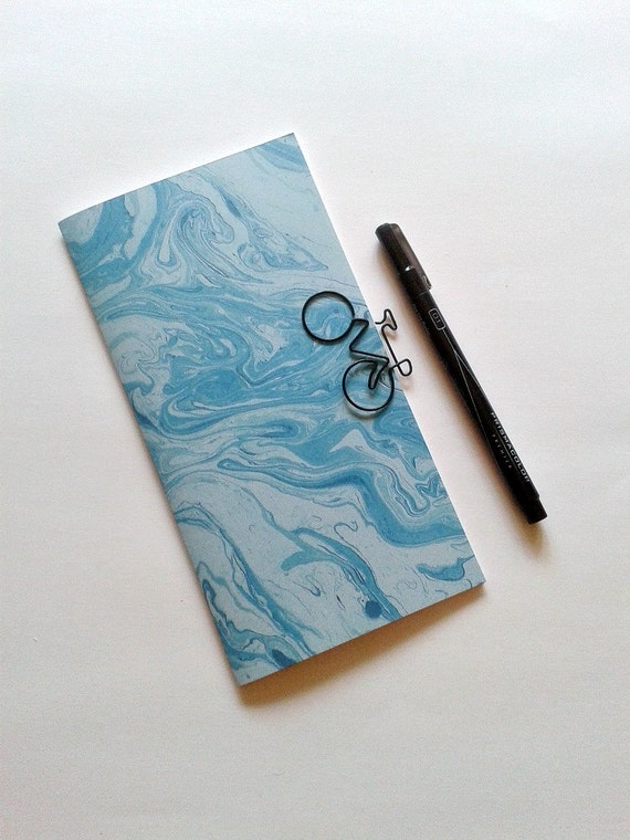 TURQUOISE MARBLE Traveler's Notebook Insert - Midori Insert - Fauxdori Insert - Diary - Planner Refill - Personal Log - Blue Marble - N182