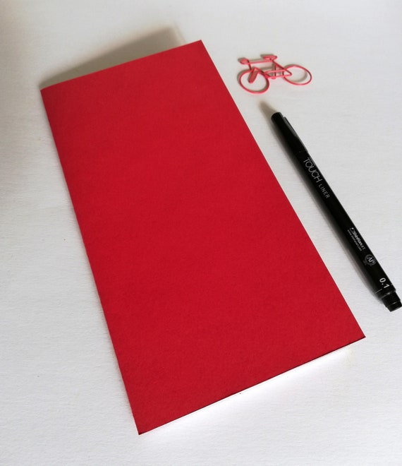 SCARLET Travelers Notebook Insert - Fauxdori Insert - Regular Standard A5 Wide B6 Personal A6 Pocket Fields Note Passport Micro - Red - N555