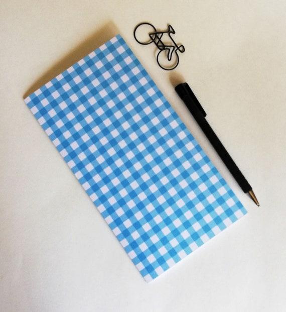 BLUE CHECK Travelers Notebook Insert - Fauxdori Midori Insert - TN Refill Accessory - Blue Gingham Spring - 10 Sizes including B6 - N585
