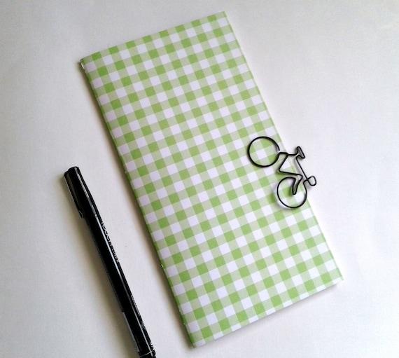 GREEN GINGHAM Travelers Notebook Insert - Pocket Field Notes Personal Standard B6 A6 - Fauxdori Midori TN Insert - N498