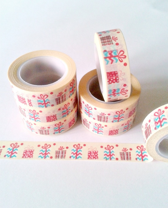Full Roll Washi Tape - Premium Tape - PRESENTS for your Planner, Midori Insert, Travelers Notebook, Planner Craft, Gift for Her - WT026