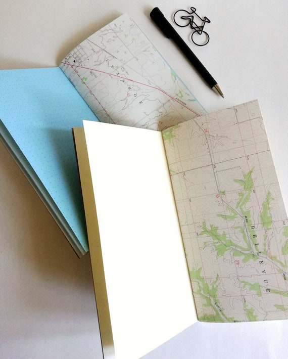 MAP PAPER Traveler's Notebook Insert - Travel Journal Insert - 24 lb Specialty Paper - Fauxdori Midori Refill - Coloured Paper - N580