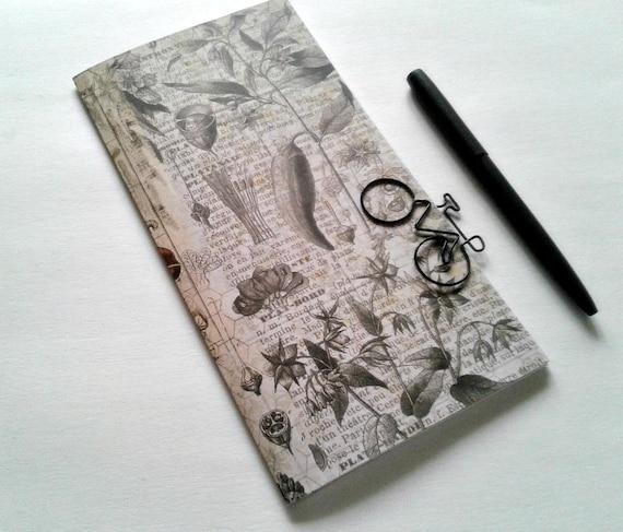 BOTANICAL Traveler's Notebook Insert, Bullet Journal Insert, Fauxdori Insert, Midori Insert, Personal Log, Vintage Style, Old Picture - N346