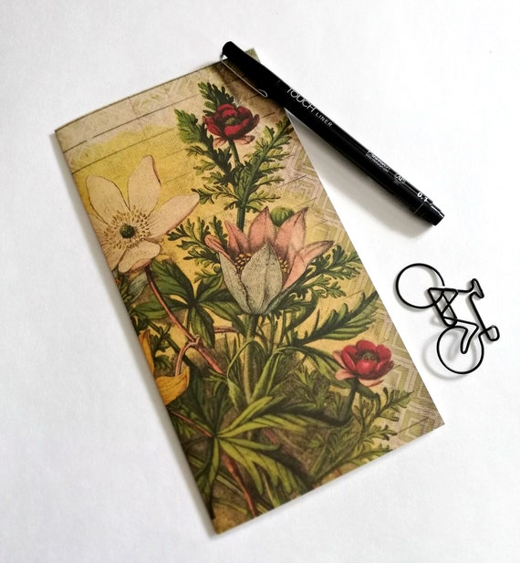 Travelers Notebook Insert VINTAGE FLOWER Travelers Notebook Insert Regular Standard A5 Wide B6 Personal A6 Field Notes Passport Micro - N552
