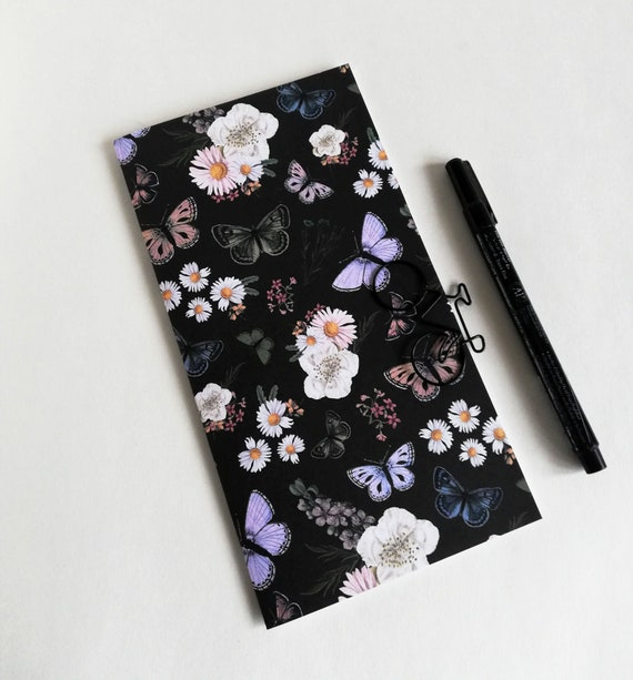 FLOWERS Travelers Notebook Insert - Fauxdori Midori Insert - TN Refill Accessory - Floral Black Spring - 10 Sizes - N612