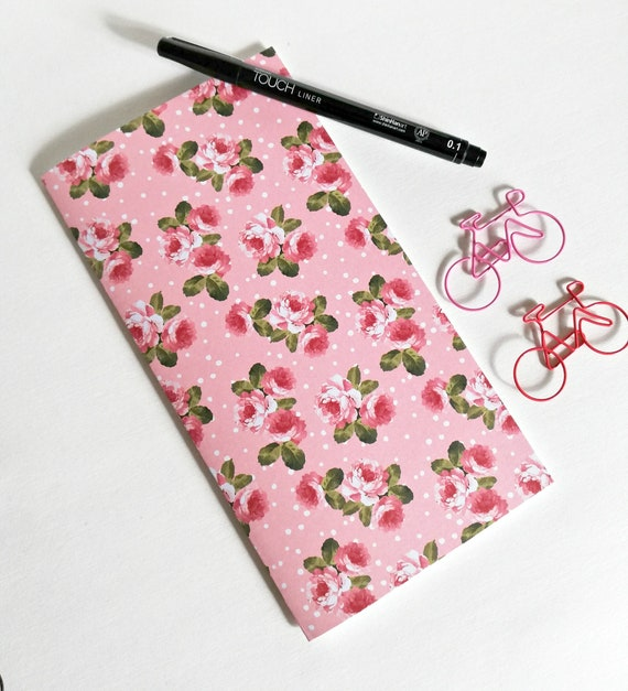 Travelers Notebook Insert PINK ROSES Travelers Notebook Refill Regular Standard Wide B6 Personal A6 Field Notes Passport Pink Red - N554